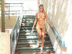 Yummy Amie Walks Naked In The Middle Of The Street