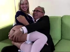 Blonde slut in stockings fingered by older British dude