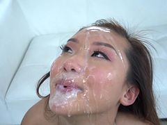 Massive facial to end babe's filthy fuck adventure