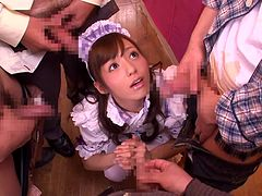 Dashing Japanese gang bang with a hot maid