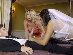 Super hot busty mom teaches shy sexy bride how to swallow thick cock of kinky groom