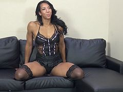 ebony with long hair in thong rides big black cock in her pussy