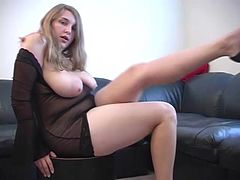 Chubby blonde plays with her pink pussy after taking off her clothes
