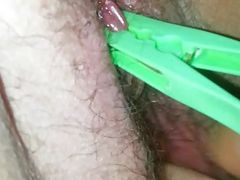 Green Peg on clit and fingering