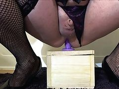 Shari riding purple dildo clitty cums