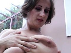 Natural tits blowjob