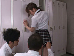 sexy teen moe sakura giving japanese blowjobs to two guys.