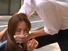 Mesmerizing Japanese cowgirl in uniform getting facial cumshot after being drilled hardcore