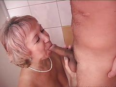 Old & Young - granny and young in shower