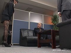 Arisa Misato, wearing pantyhose, gets naughty with a guy in an office