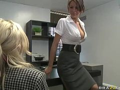 Using Her Big Natural Tits and Sucking Cock To Climb in The Office