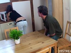 Luka and Izida Fuck On Top Of The Kitchen Table In Amateur Clip