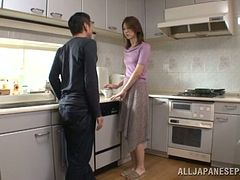 Akari Hoshino sucks a cock and gets fingered in a kitchen