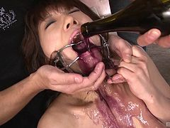 Bondage cock-sucking adventure for the naughty Asian maid
