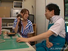 Lovely Arisa Nakano blows a dick in a kitchen in POV