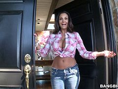 Ava Addams allows a dude to poke a cucumber in her ass and fuck it