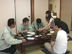 Japanese girl gives a blowjob to her stepfather in the kitchen