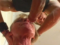 Weird blonde MILF has a voracious appetite for cum and gives stout BJ