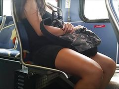 Candid sexy young thick legs on bus