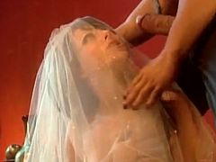 Nasty girl in a wedding dress gets fucked and fingered