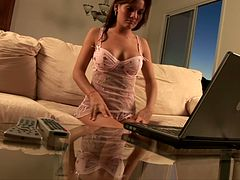 Stunning sex doll Katie is naked on skype