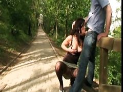Beautiful Czech brunette in stockings fucks in the outdoor