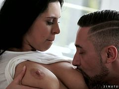 Young brunette Kira Queen moans under horny guy