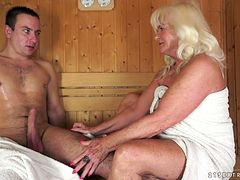 Poor student fucks old bitch Vera in the sauna
