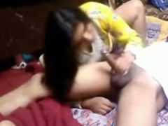 Passionate and hot Indian lady greedily sucking dick of her lover