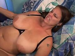 Sexy Brunette Gets Fucked and Cummed On Her Huge Natural Tits
