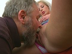 Sweet blonde Sasha fuck with old man