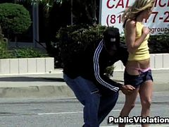 Sweet blonde being upskirted so funny
