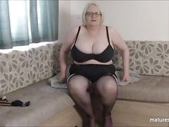 Granny Sally's tits bounce in slow motion