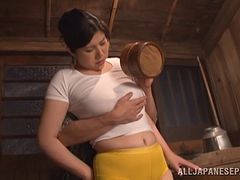 A Japanese wife gets fucked then takes cum in her mouth
