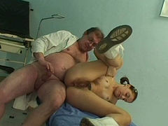 Perverse overaged gynecologist fucks bushy twat of young slut Yvette C