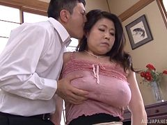 Turned on by huge natural Japanese titties on a milf