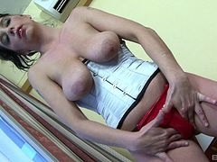Slut keeps her tight white corset on as she takes BBC