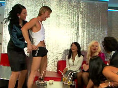 Hot gangbang scene with incredibly beautiful ladies