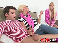 Lecherous blonde gal Vanessa Cage shares hard dick with nasty MILF