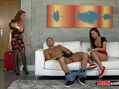 Nasty bitch Amara Romani shares hard dick with another hussy in 3some