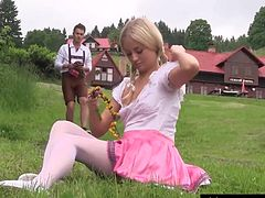 Pig-tailed blonde teen babe getting