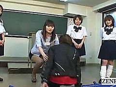 Subtitled Japanese schoolgirls teacher kiss interviews