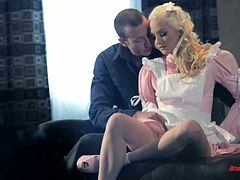 Sweet blond maid Ashley Stone gets fucked hard on the master's table