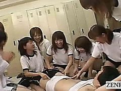 Subtitled CFNM Japanese schoolgirls locker room harem