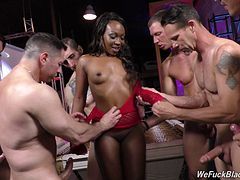 Unforgettable black senorita is banged hard by the horny white guys