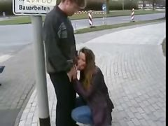 Teen GF sucks BF cock in public all over town