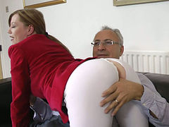 Lucky grey haired gaffe takes a chance to get a blowjob provided by Holly Kiss