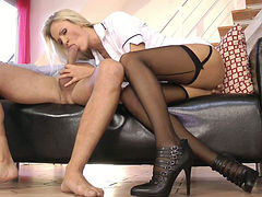 Overwhelming blonde nurse Andrea Francis is riding hard dick of an old dude