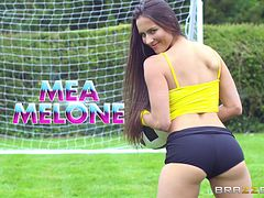 Two soccer-loving babes getting the threesome treatment on the field