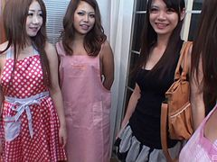 Four tight ass Japanese beauties fucked and filled with cum